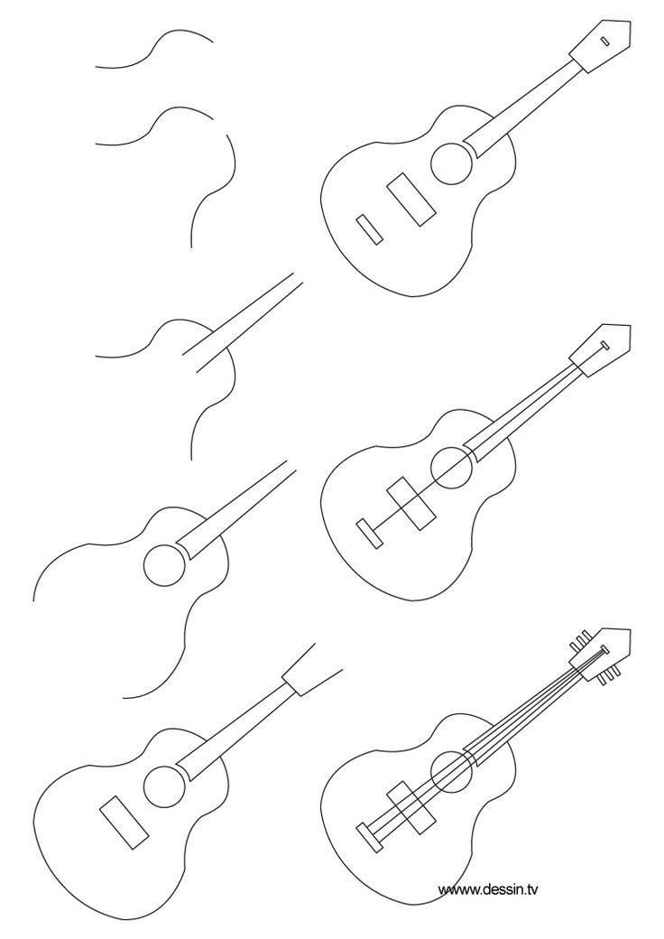 how to draw a guitar learn how to draw an acoustic guitar musical instruments guitar to draw how a