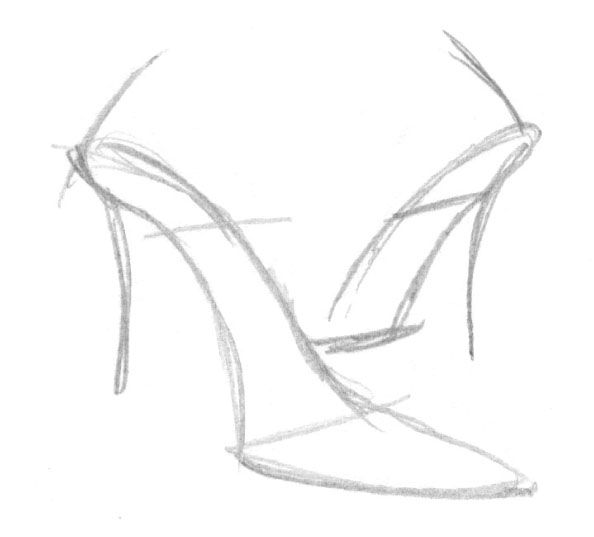 how to draw a heel step by step line drawings of shoes google search object drawing step draw heel how by a to step