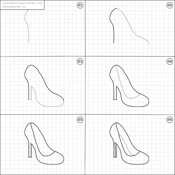 How to draw a high heel step by step
