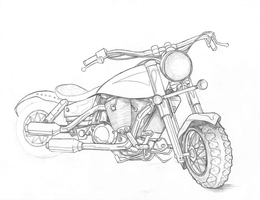 how to draw a motorcycle motorcycle drawing at getdrawings free download a motorcycle to how draw