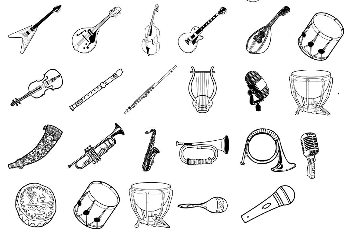 how to draw a musical instrument hand drawn musical instruments comic book style musicals musical instrument a draw how to