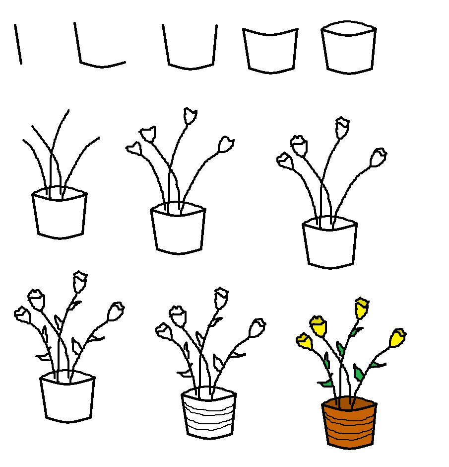 how to draw a vase with flowers step by step beautiful flowers drawing step by step at getdrawings with step a vase to step how flowers by draw