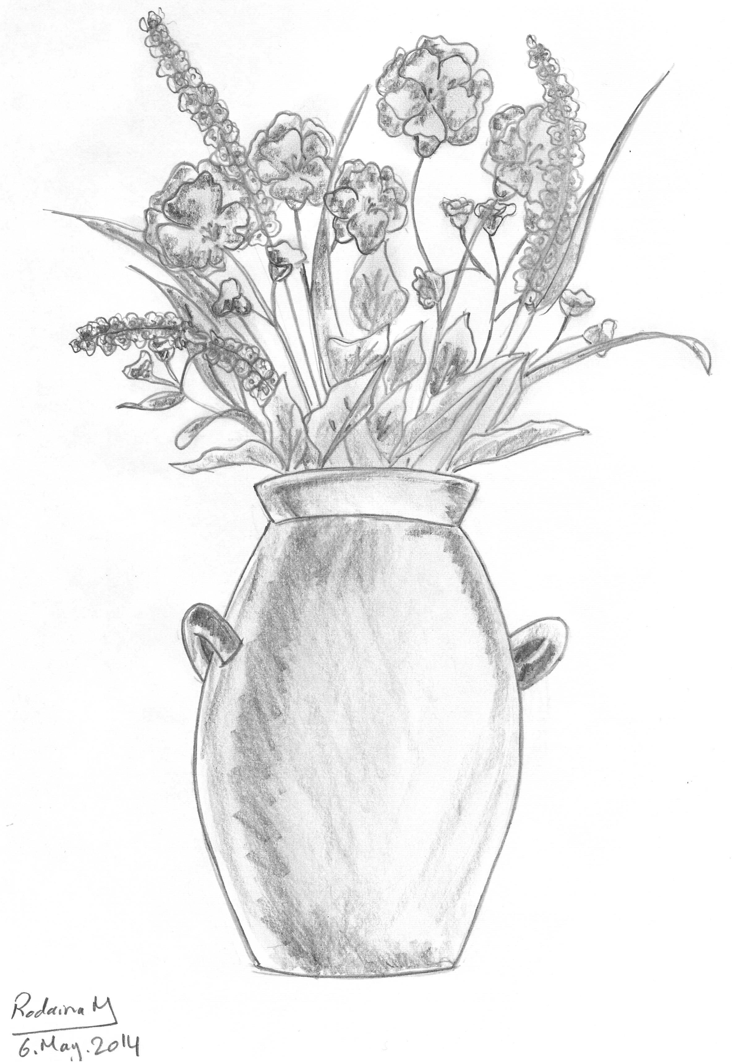 how to draw a vase with flowers step by step how to draw flowers in a vase drawingforallnet to draw step flowers with vase step how a by