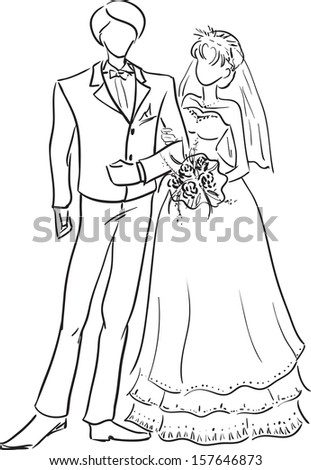 how to draw a wedding couple bride and groom isolated on white for marriage ceremony to how couple wedding draw a