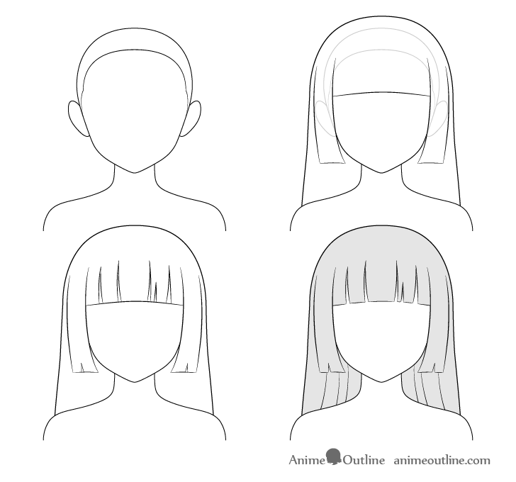 how to draw anime girl step by step how to draw anime and manga hair female animeoutline anime to step step girl draw by how