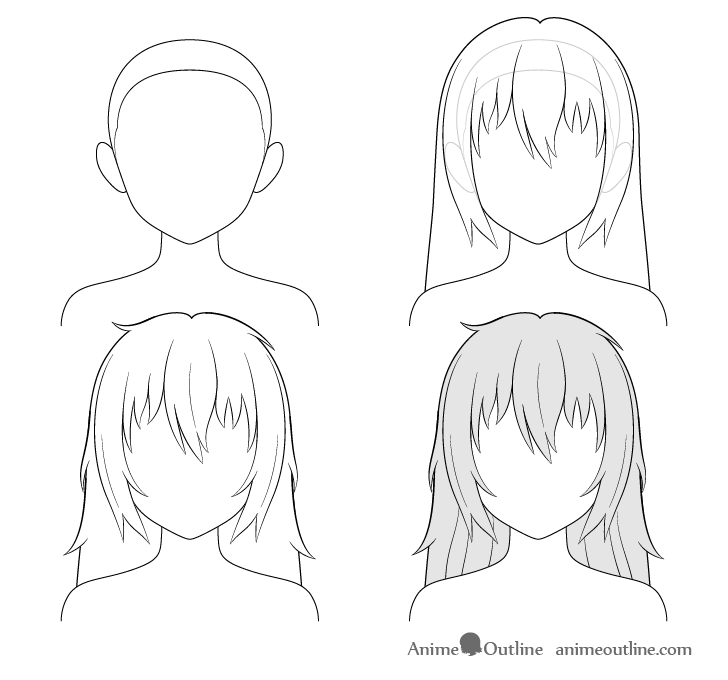how to draw anime girl step by step how to draw anime and manga hair female animeoutline step step how anime girl draw by to