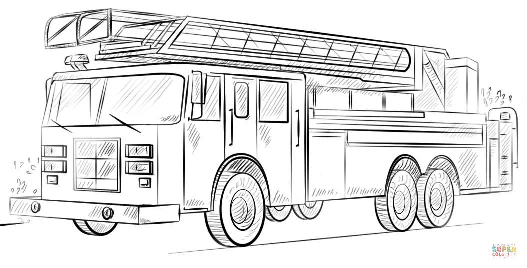 how to draw fire truck disegno di camion dei pompieri con scala da colorare fire draw to how truck