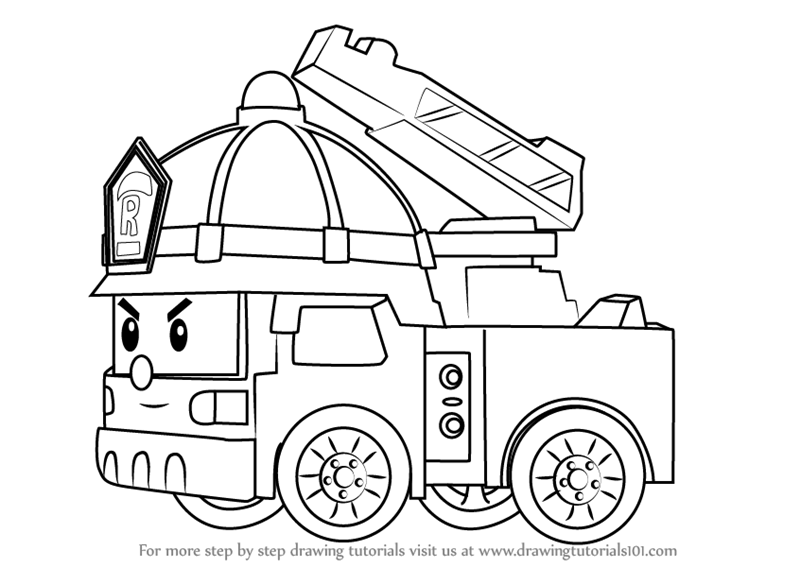 how to draw fire truck step by step how to draw roy fire truck from robocar poli fire truck how to draw