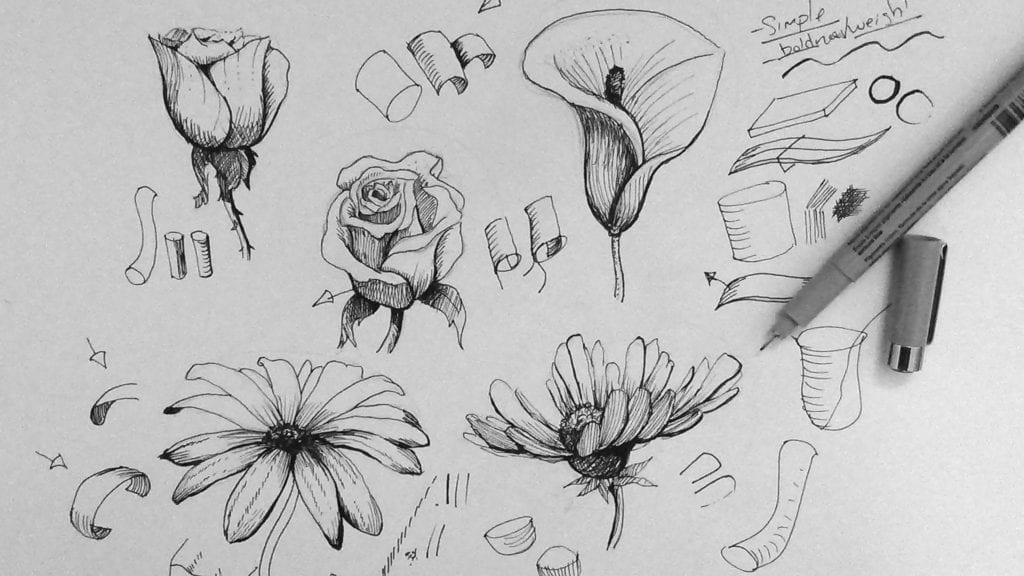 how to draw flowers easy flowers drawing at paintingvalleycom explore how draw to flowers