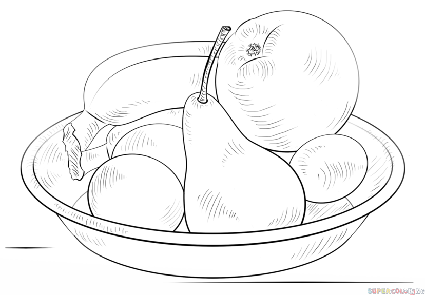 How to draw fruit in a bowl