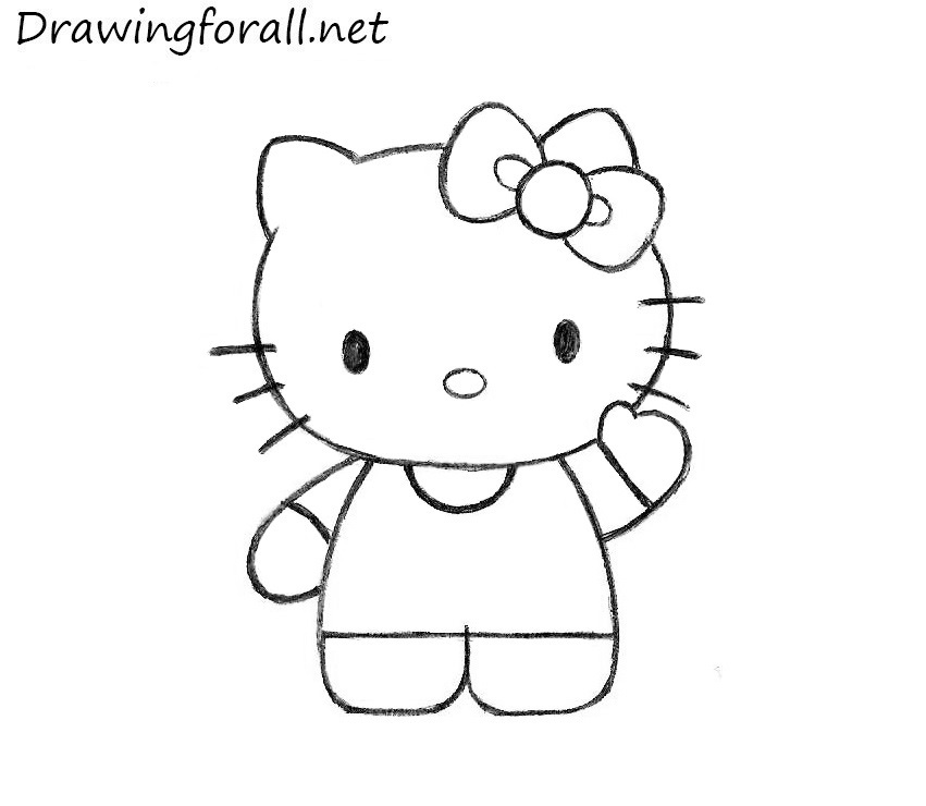 how to draw hello kitty step by step how to draw hello kitty drawingforallnet hello step by step draw to kitty how