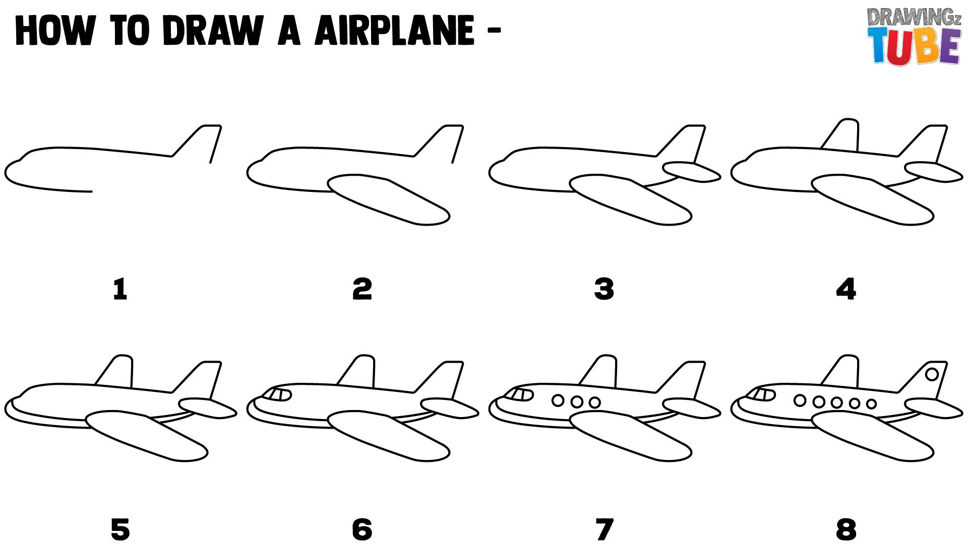 How to draw jet step by step