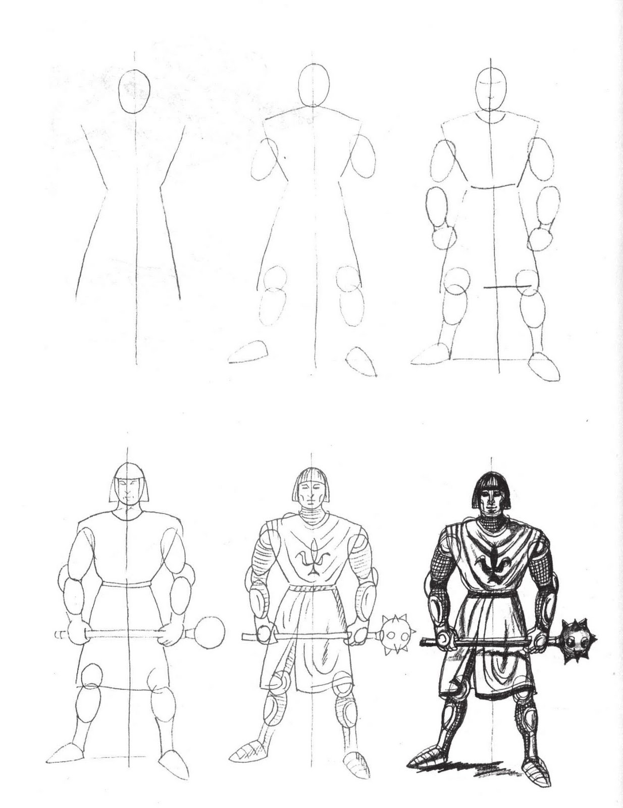 how to draw knights fighting sketch day knight and dragon dabbled how draw fighting knights to