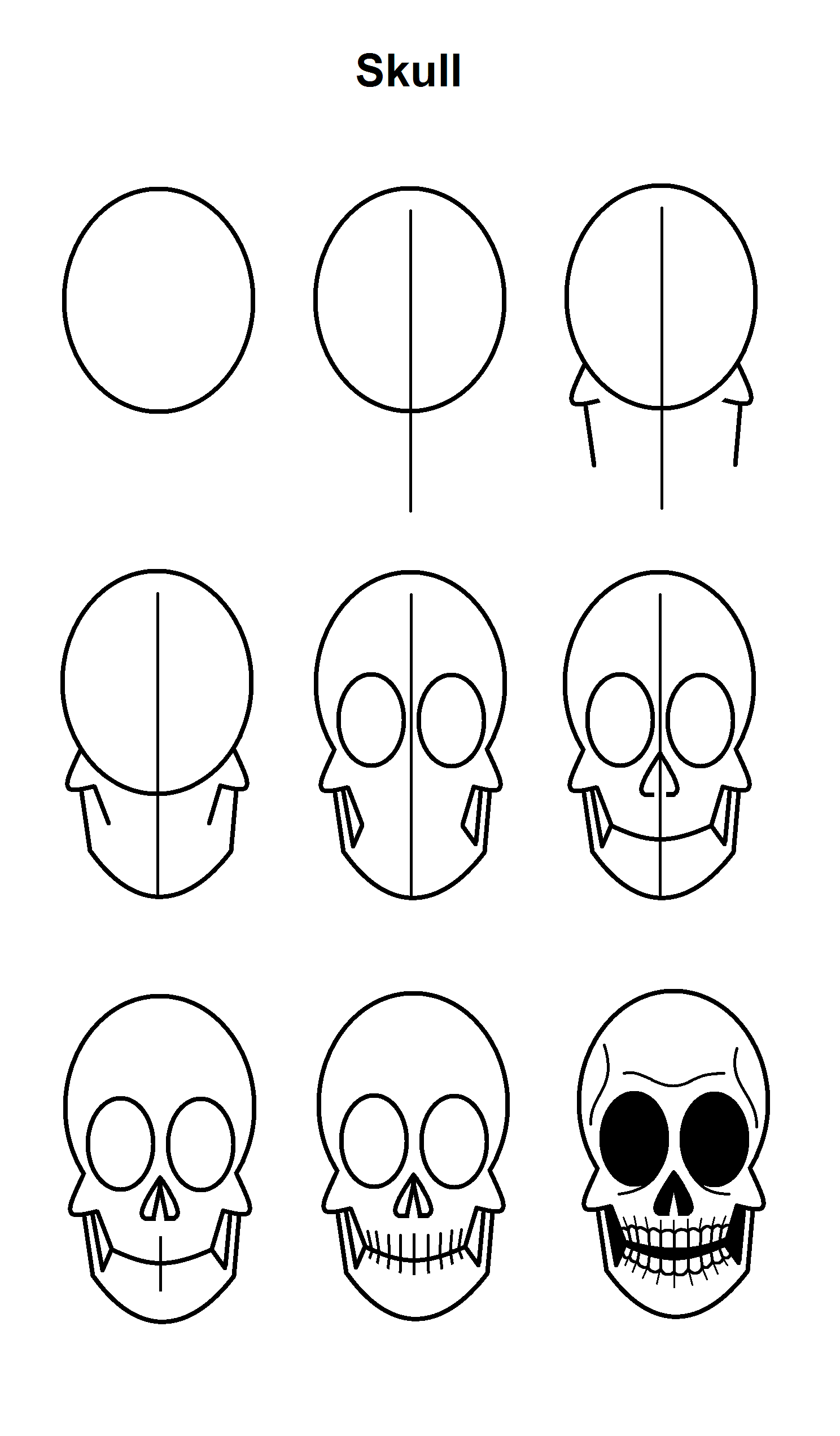 how to draw realistic skulls step by step 25 easy halloween drawings step by step for kids step draw skulls by step realistic how to
