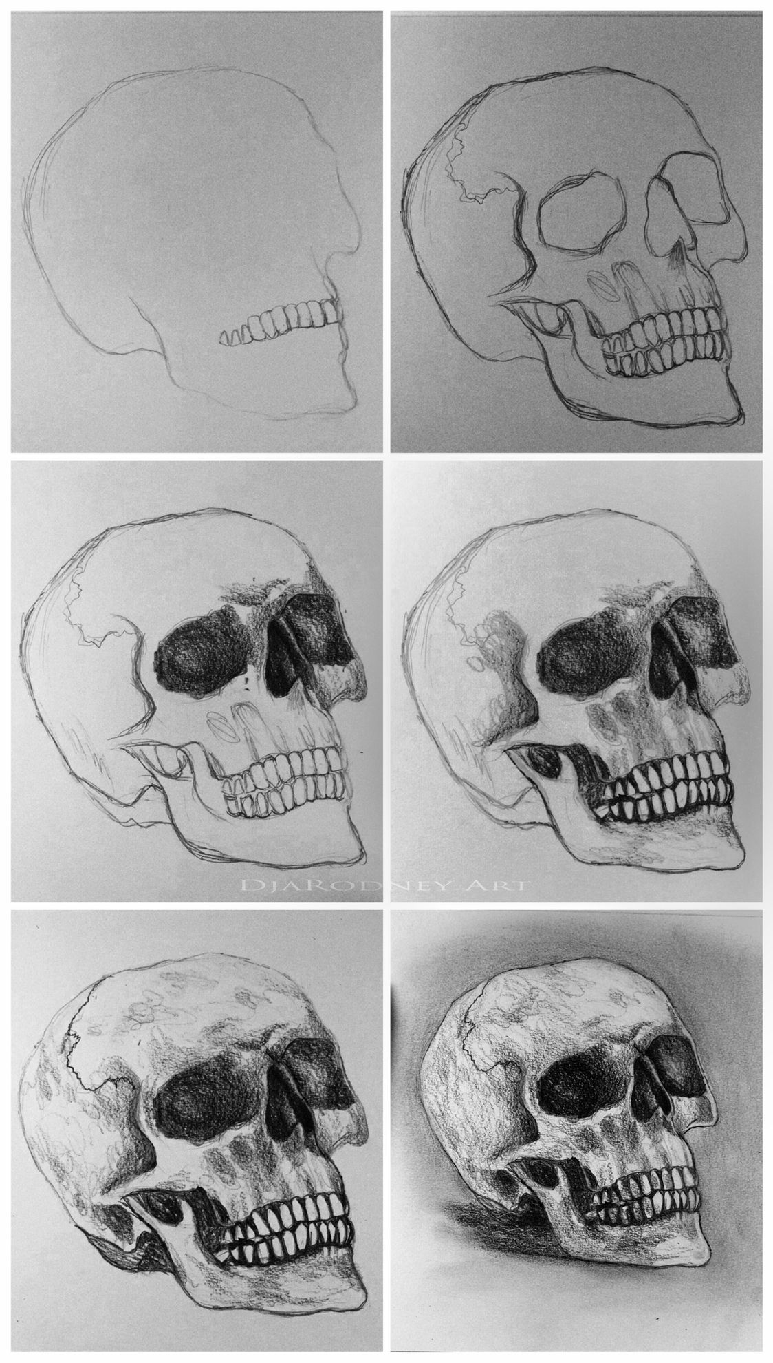 How to draw realistic skulls step by step