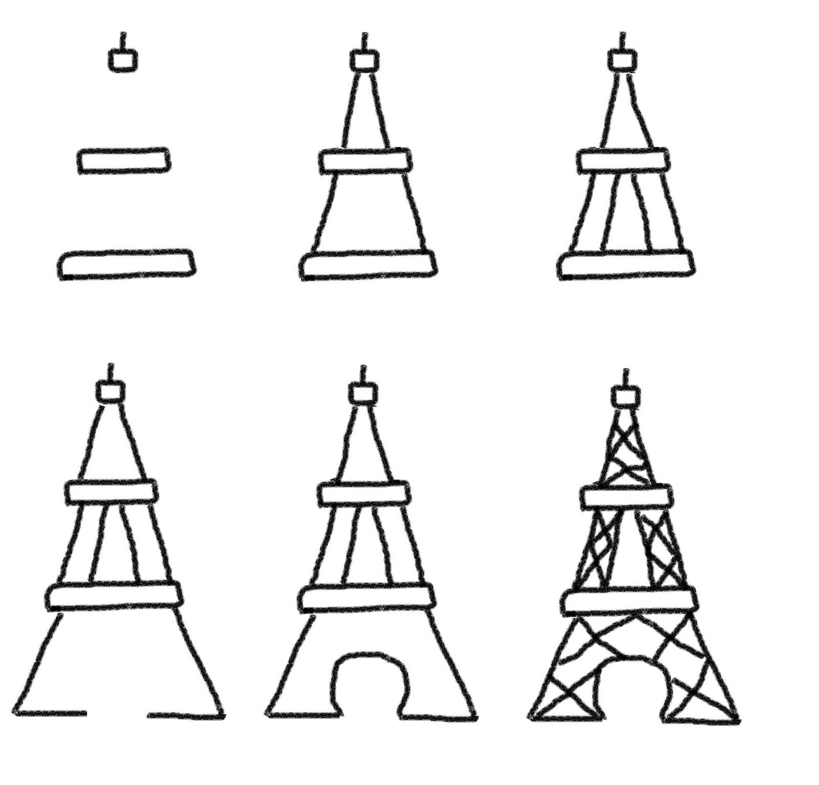 How to draw the eiffel tower easy step by step