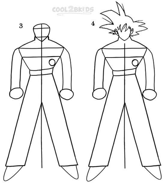 how to goku how to draw goku step by step pictures cool2bkids goku to how