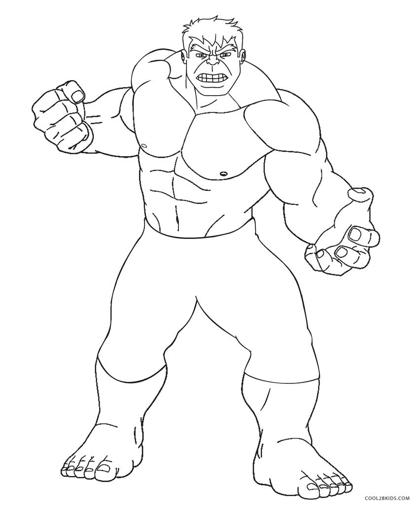 Hulk outline for coloring
