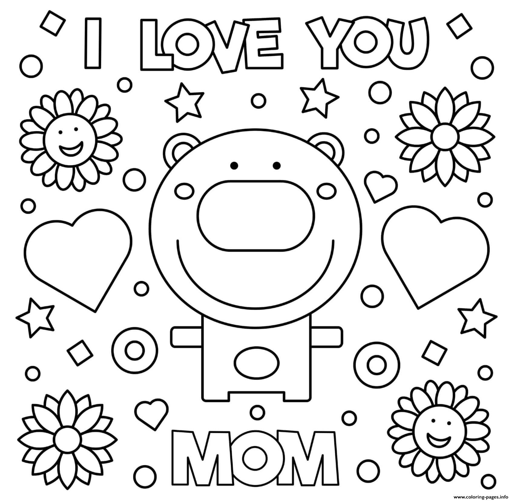 i love u mom coloring pages mothers day i love you mom bear hearts flowers coloring coloring pages mom love u i
