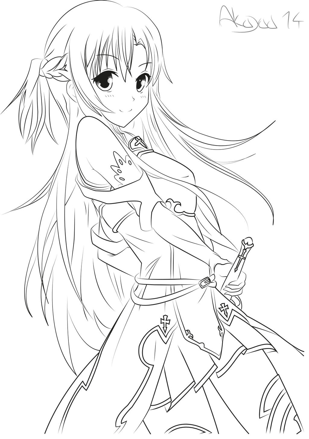 images of anime coloring pages asuna yuuki sword art online lineart by akayaa on anime images of pages coloring