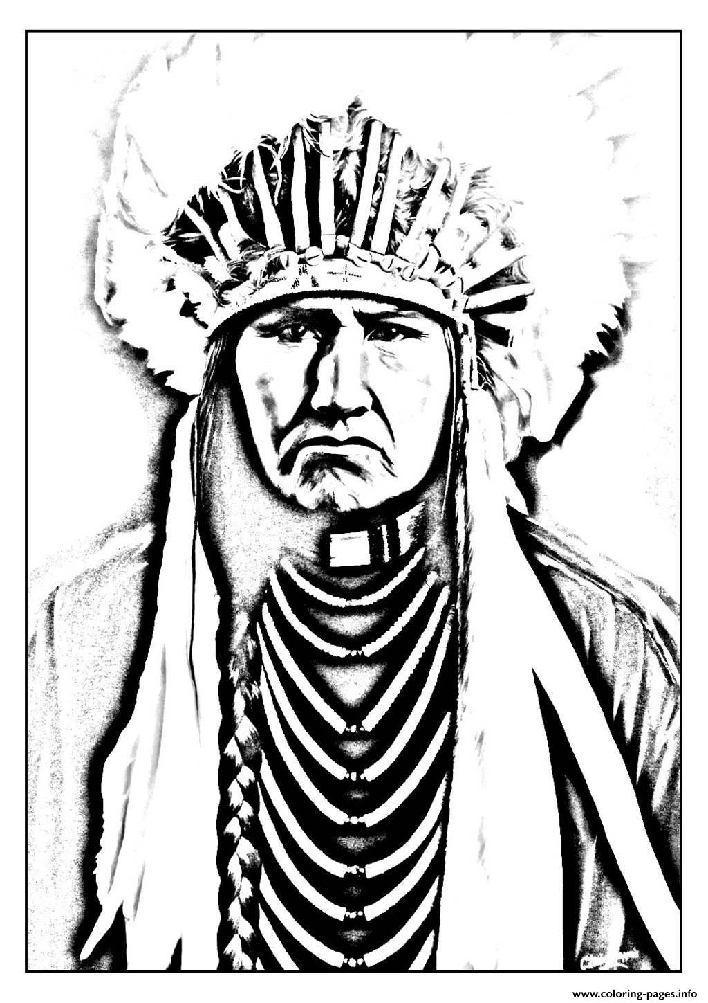 indian pictures to color indian native chief profile native american adult to indian pictures color