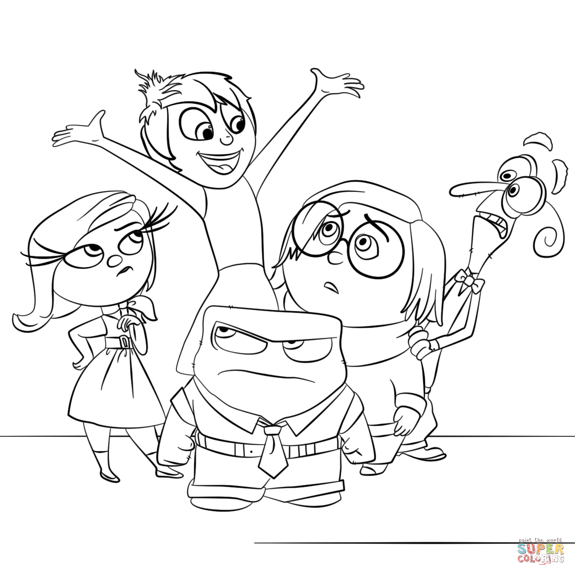 Inside out coloring pages all characters