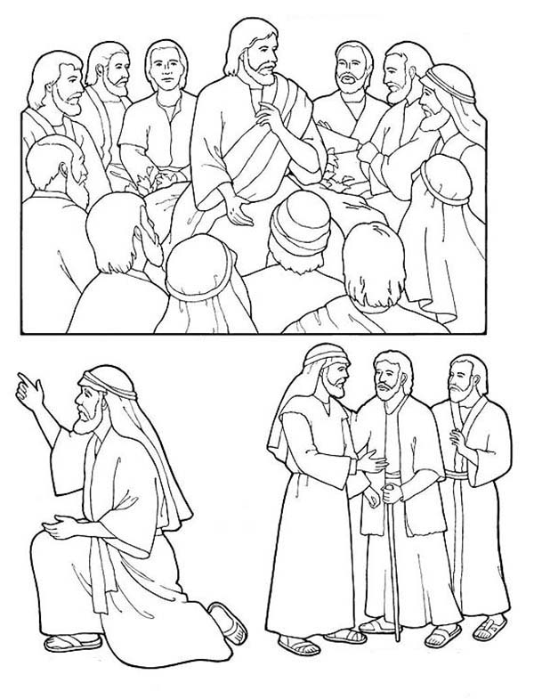 jesus and disciples coloring page jesus and his disciples coloring page bible coloring jesus disciples page coloring and