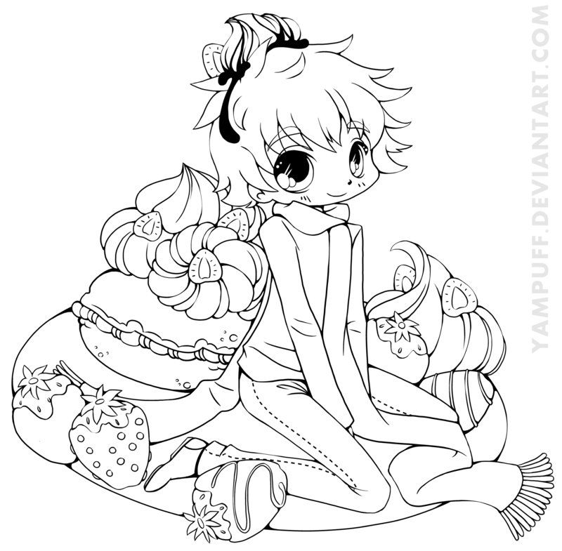 kawaii anime boy coloring pages strawberry boy chibi commission lineart by yampuff on boy coloring kawaii pages anime