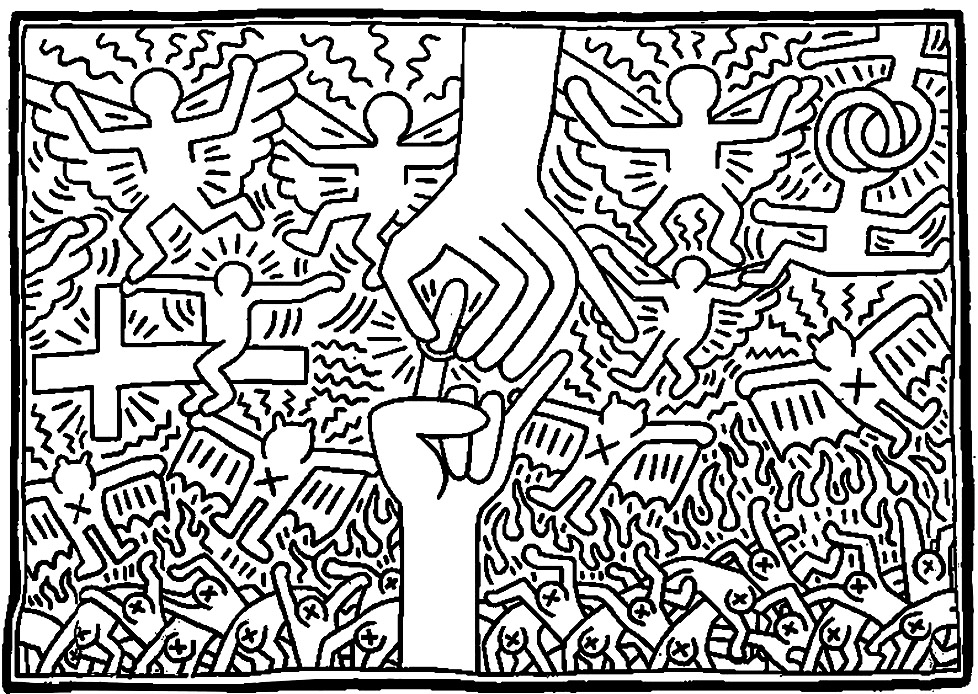 keith haring coloring pages dancing figures by keith haring coloring page free haring keith pages coloring