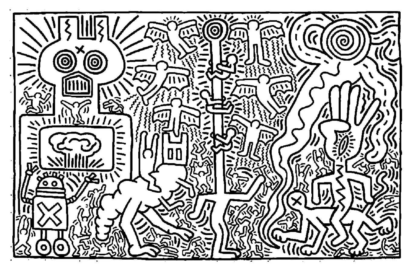 keith haring coloring pages easy famous paintings coloring home coloring keith haring pages