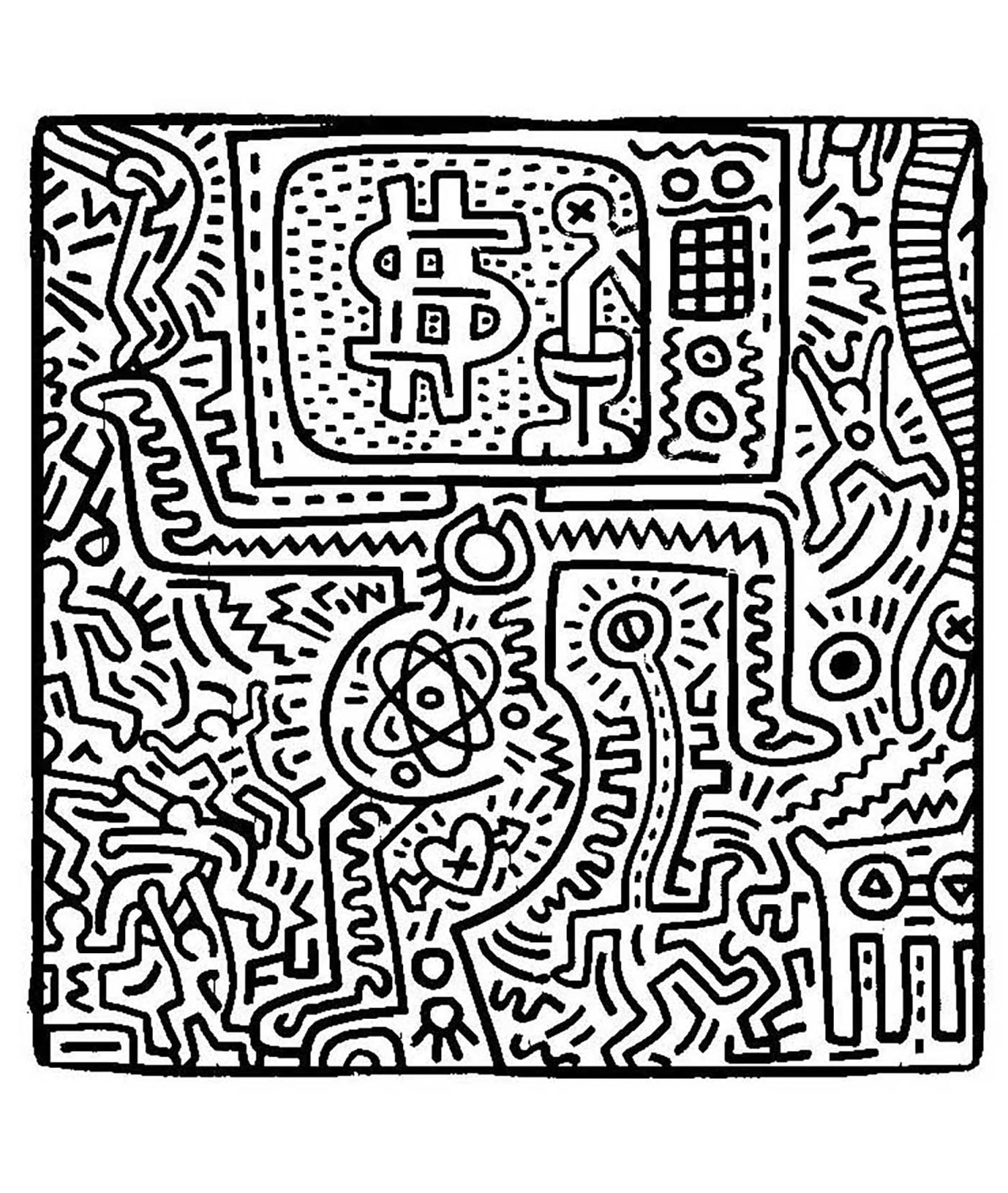 keith haring coloring pages keith haring arts printable coloring pages realistic keith pages coloring haring