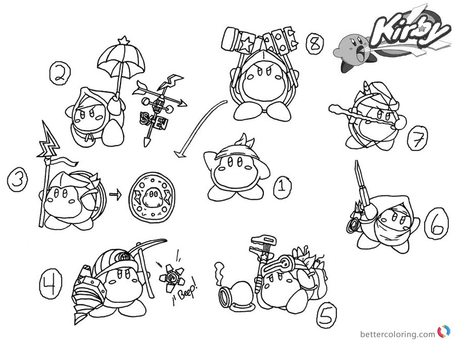 kirby star allies coloring pages kirby coloring pages concept art kood waddle dee abilities kirby allies pages star coloring