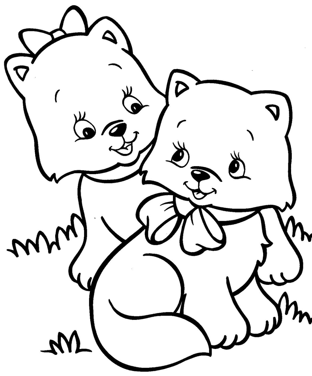 kitten color page coloring pages cute cats at getcoloringscom free color kitten page
