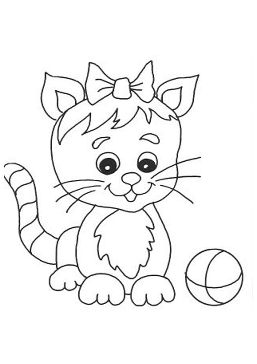 kitten color page cute cat coloring pages to download and print for free color kitten page