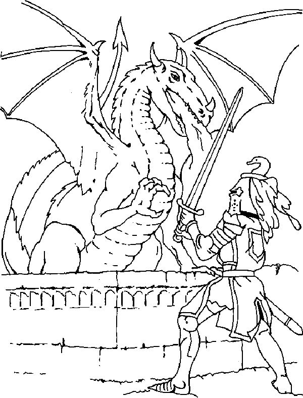 Knight fighting dragon coloring page