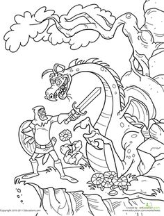 knight fighting dragon coloring page knight fighting dragon coloring pages page fighting coloring dragon knight
