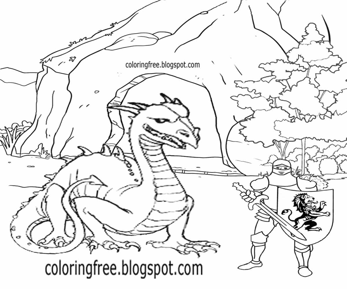 knight fighting dragon coloring page knight fighting dragon drawing at getdrawings free download fighting knight page dragon coloring