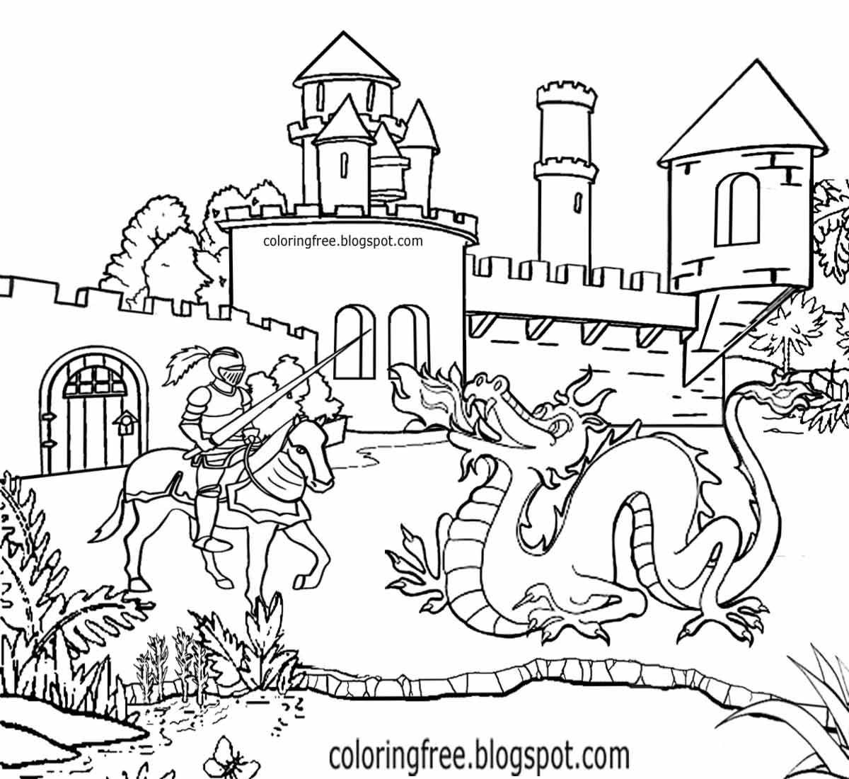 knight fighting dragon coloring page knight fighting dragon drawing at paintingvalleycom dragon fighting page knight coloring
