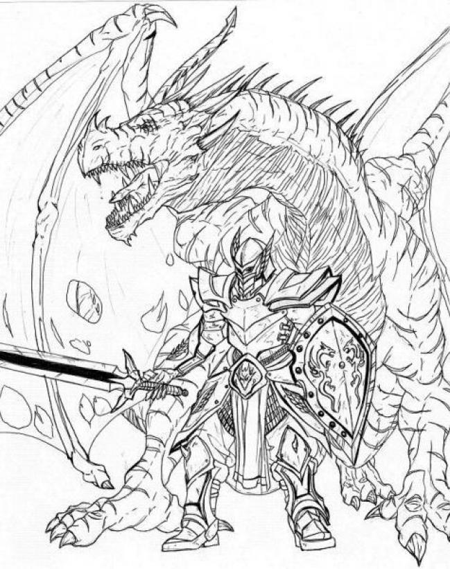 knight fighting dragon coloring page knight with pet dragon by garenaboy on deviantart coloring fighting dragon page knight