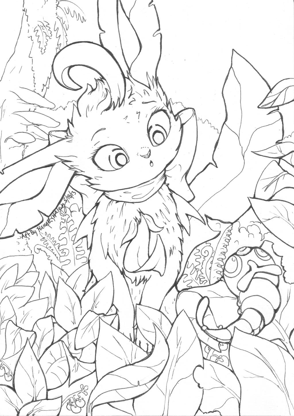 leafeon coloring pages leafeon line art crazycomiclady commission by karookachoo leafeon coloring pages