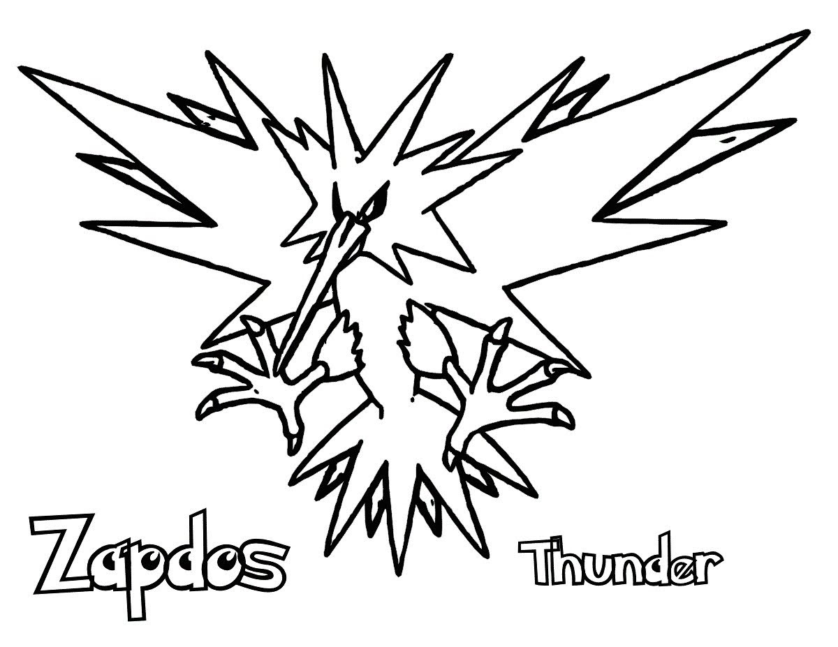 legendary zapdos pokemon coloring pages best zapdos legendary pokemon coloring page printable pages pokemon zapdos coloring legendary