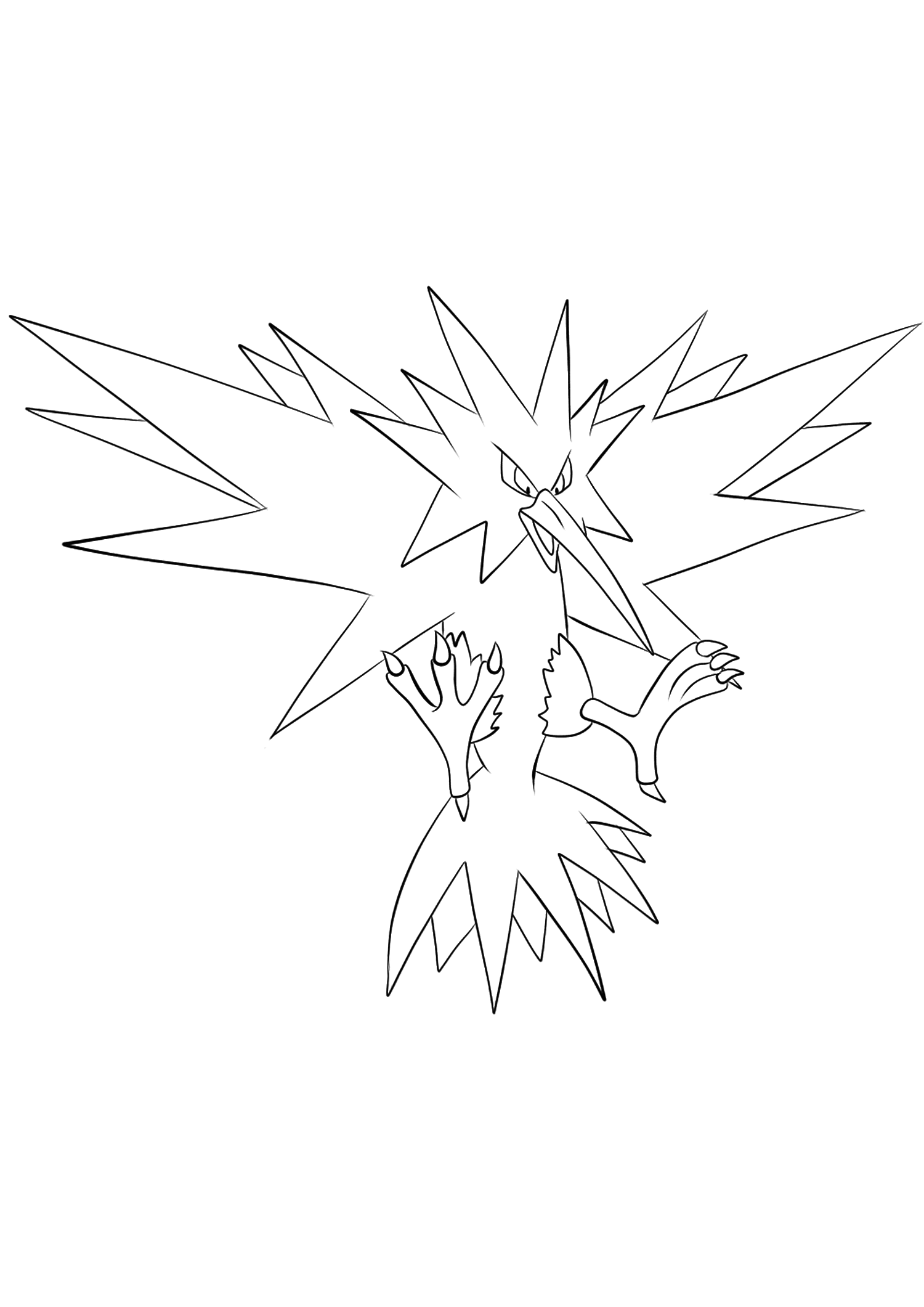 legendary zapdos pokemon coloring pages zapdos coloring page at getdrawings free download pages zapdos legendary pokemon coloring