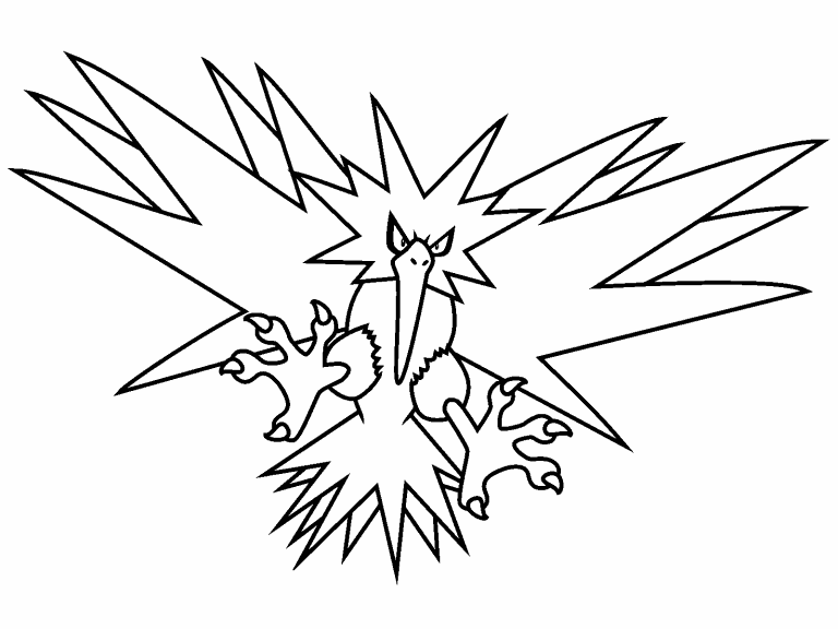 Legendary zapdos pokemon coloring pages