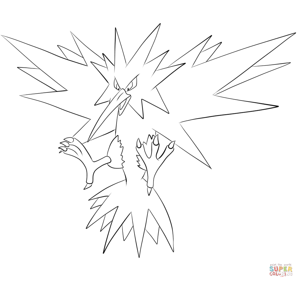 legendary zapdos pokemon coloring pages zapdos pokemon coloring pages printable free pokemon zapdos coloring legendary pages pokemon