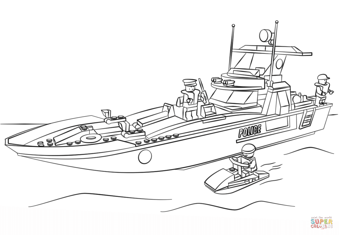 Lego boat coloring page