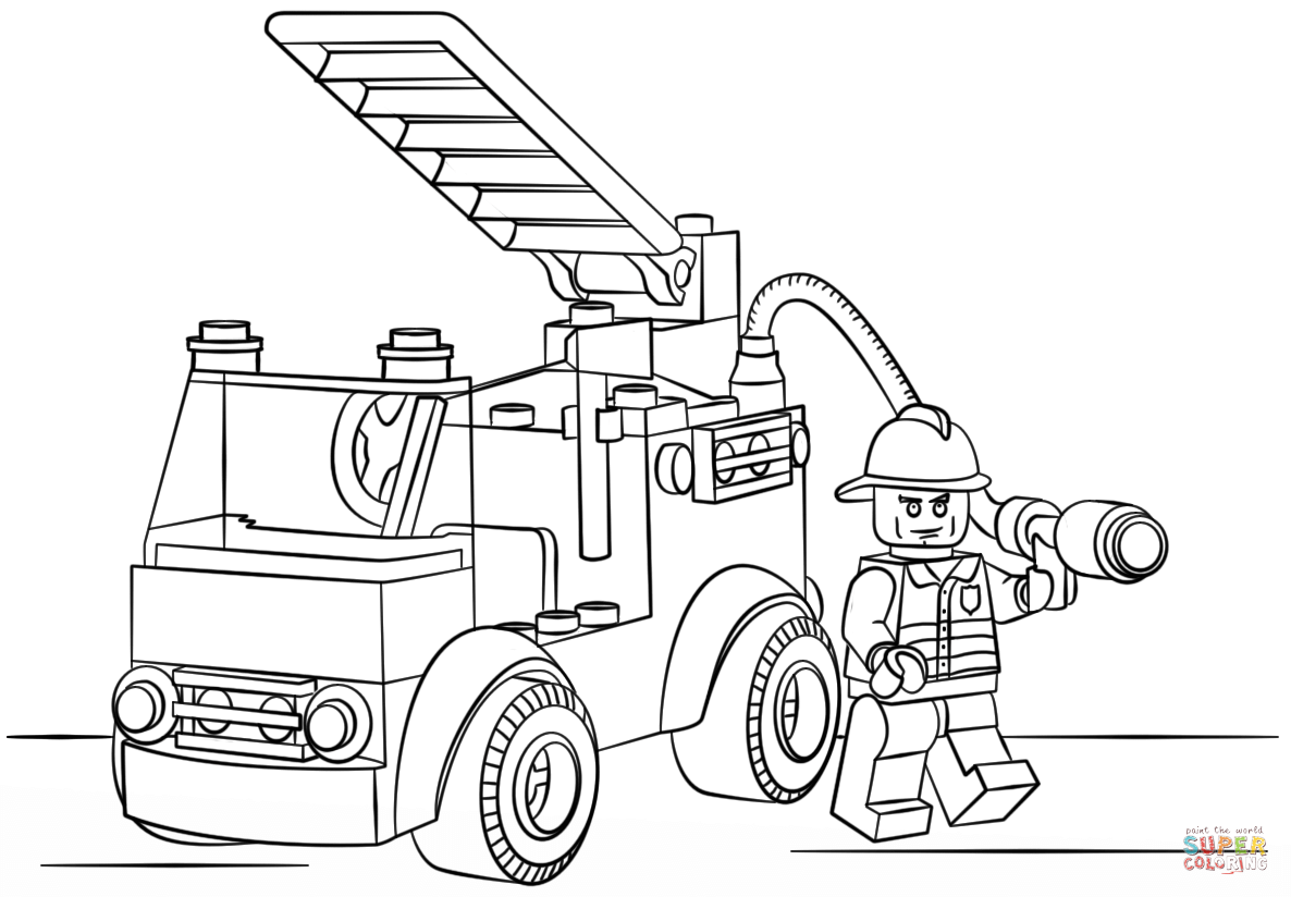 Lego fire truck coloring