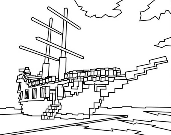 lego minecraft coloring pages pirate ship in lego style coloring page kids play color coloring lego minecraft pages