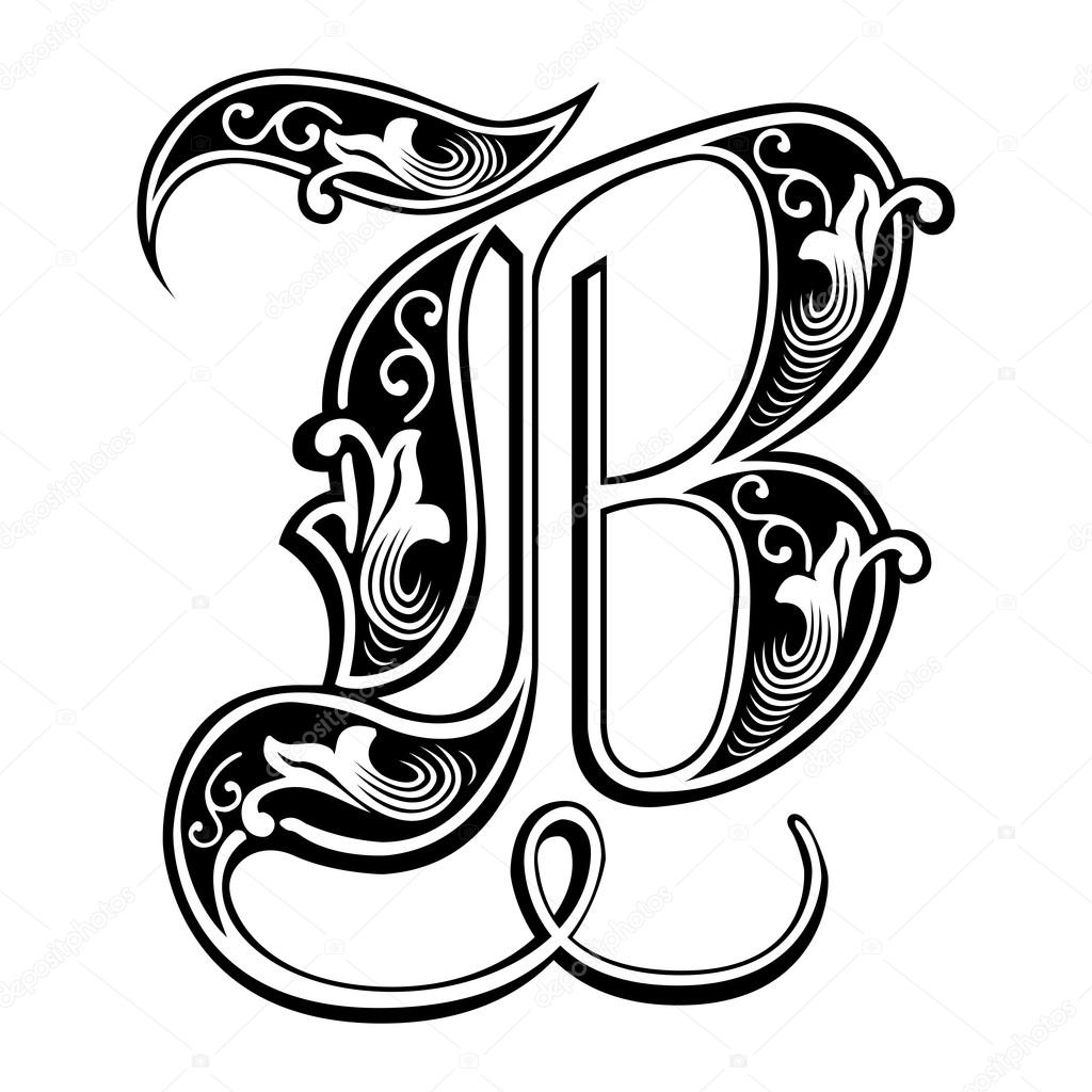 letter b calligraphic letter b in 15th century gothic style b letter