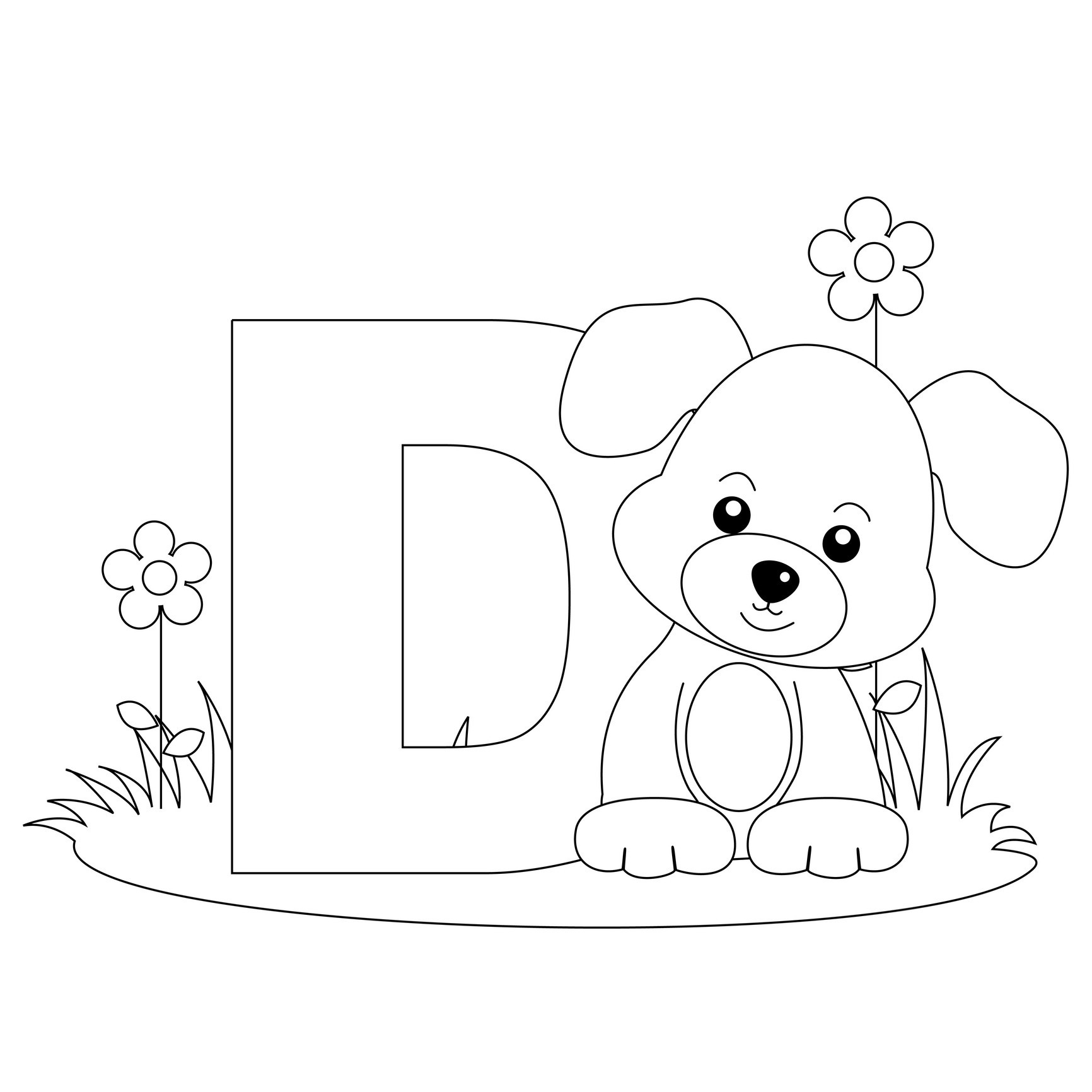 Letter d coloring page for toddlers