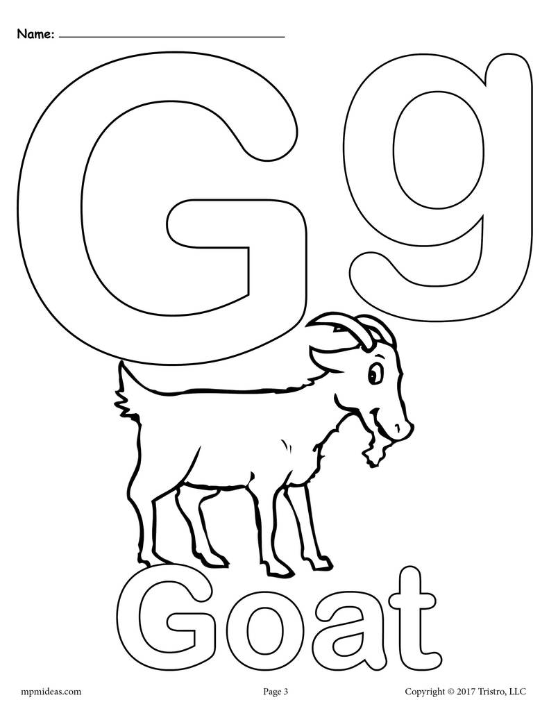 Letter g coloring pages printable